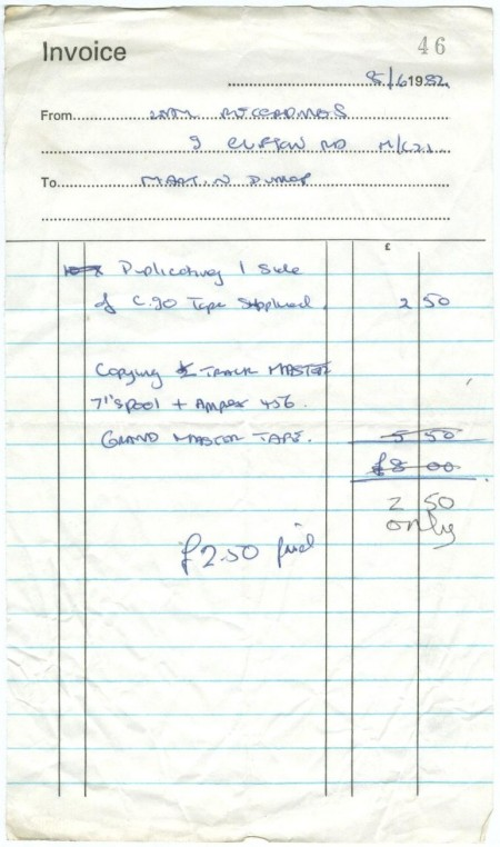 Invoice 8 June 1982 for duplicating 1 side of C30 cassette tape and copying master tape.