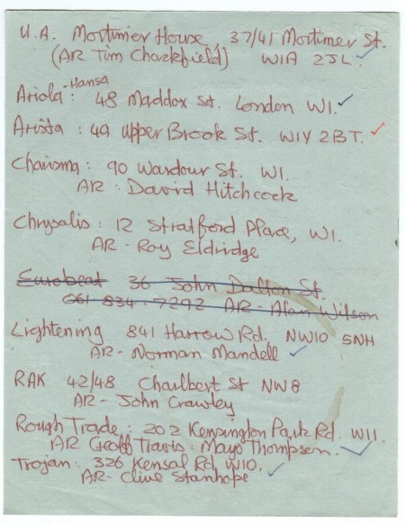 undated list of major record labels (for the purposes of sending out demos) [2 of 2]