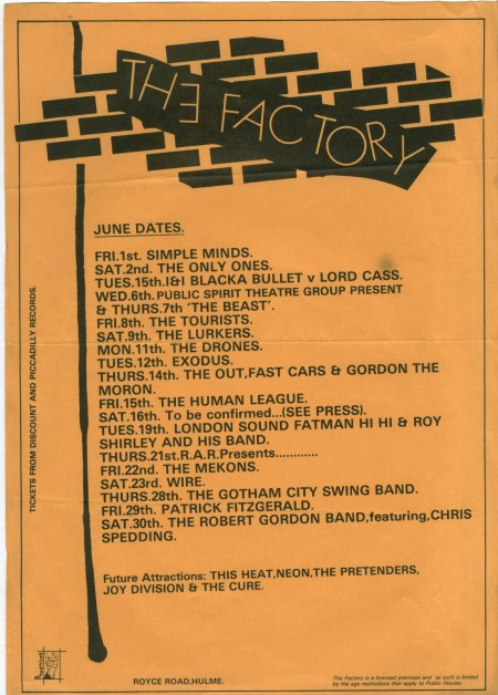 X-O-Dus: Flyer for The Factory from 1979 featuring Exodus on Tue 12 June (other artists appearing in June 79 include Simple Minds, The Only Ones, The Tourists, The Human League, The Mekons and Wire).